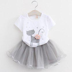 MAIDUOBAO Girl 3D Print Two-piece T-shirt and Dress Suit -