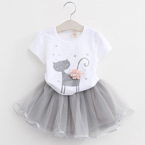 Shops MAIDUOBAO Girl 3D Print Two-piece T-shirt and Dress Suit