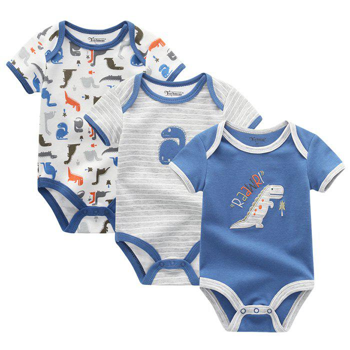 FETCHMOUS BDS3 Newborn Baby Summer Jumpsuit Short Sleeve Small Animal Pattern Dress Suit 3PCS