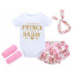 Baby Letter Print Romper Four Cloth Sets -