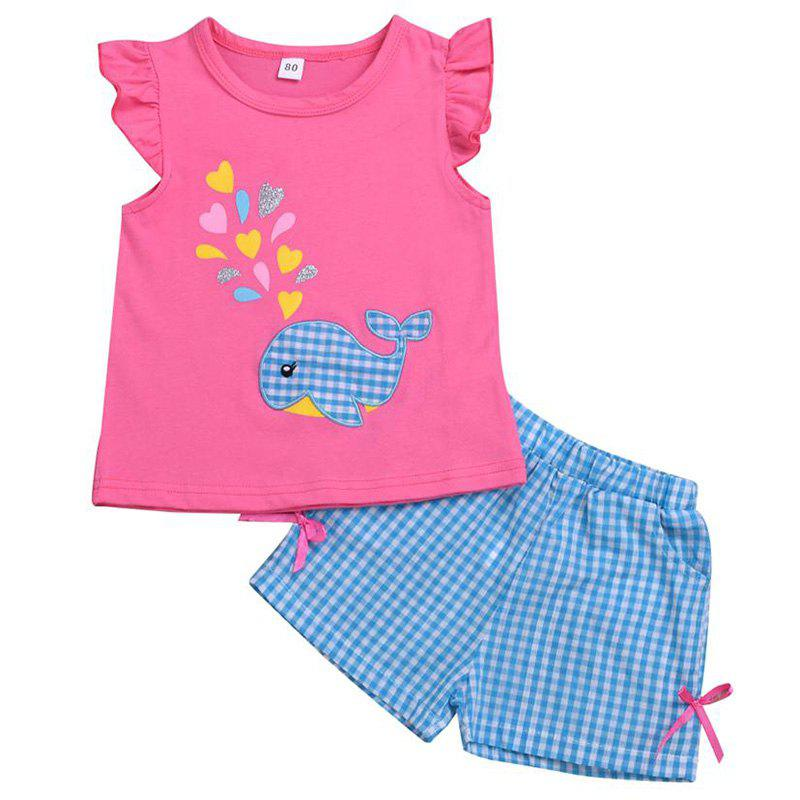 New Girls Embroidered Top Plaid Shorts Set