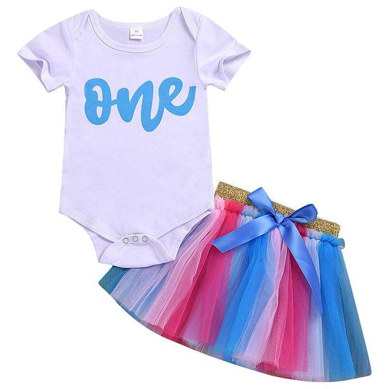 Discount Girls' Two-Piece Set Short Sleeves T-shirt Mesh Colorful Skirt