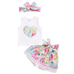 Summer Girls Floral Love Vest Lace Pants Headband Set -