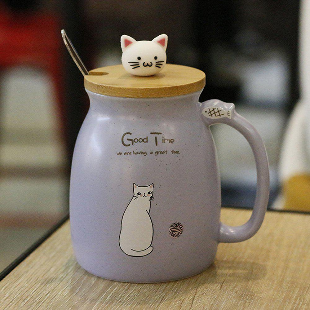 Affordable Creative Cat Heat-resistant Cup Cartoon with Lid Coffee Office Drink Gift Mug 450ml
