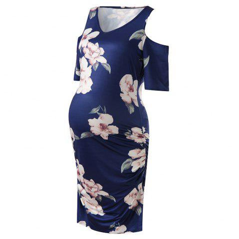 327be204a503 Fashion Ladies Off-the-shoulder Flower Print Maternity Dress