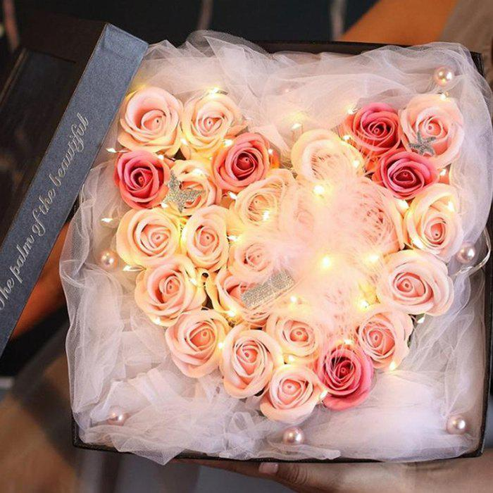 Fashion 26 Roses Mother's Day Holiday Gift Soap Flower with Light