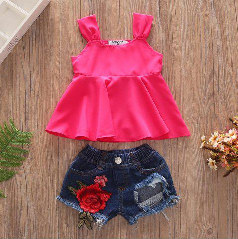 1269 Girls Polyester Vest Rose Hole Denim Shorts