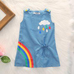 1262 Polyester Knit Cloud Rainbow Print Vest Dress -