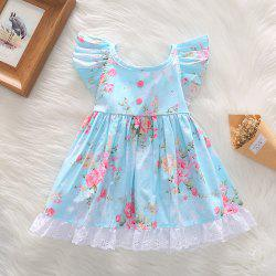 1259 Girls Polyester Printed Floral Ruffled Hem Dress -