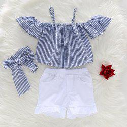 1250 Girls Set Striped Bow Elastic Folds -