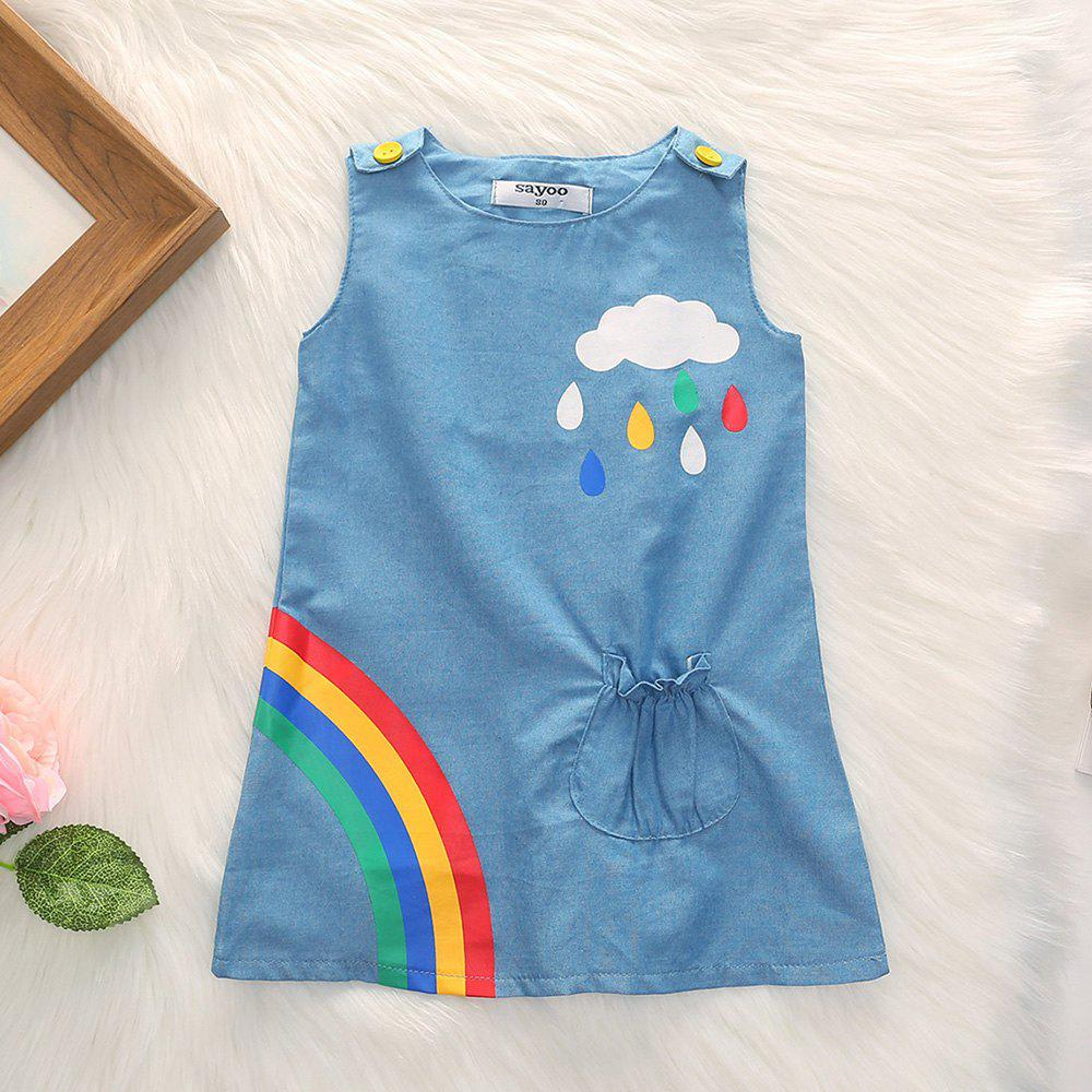 Hot 1262 Polyester Knit Cloud Rainbow Print Vest Dress