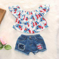 1273 Polyester Floral Print Flying Sleeves Shirt and Stars Striped Hole Denim Shorts -