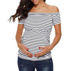 8013 Striped Short-sleeved Maternity T-shirt -