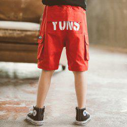 DD1170 Boy Multi-bag Letter Printing Casual Fifth Pants -