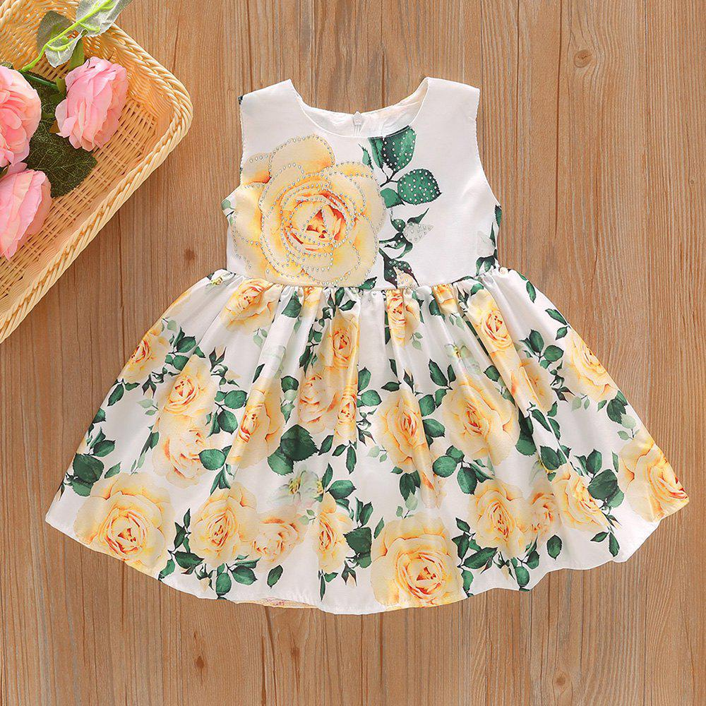 Fashion 1246 Girls Large Flower Print Princess Dress