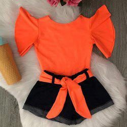 1256 Girls Nylon Elastic T-shirt Cotton Denim Pants Suit -