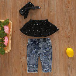 96 Girls Off Shoulder T-shirt Denim Trousers Headband Suit -