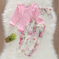 1217 Girls Cotton Printed Bow Romper Pants -