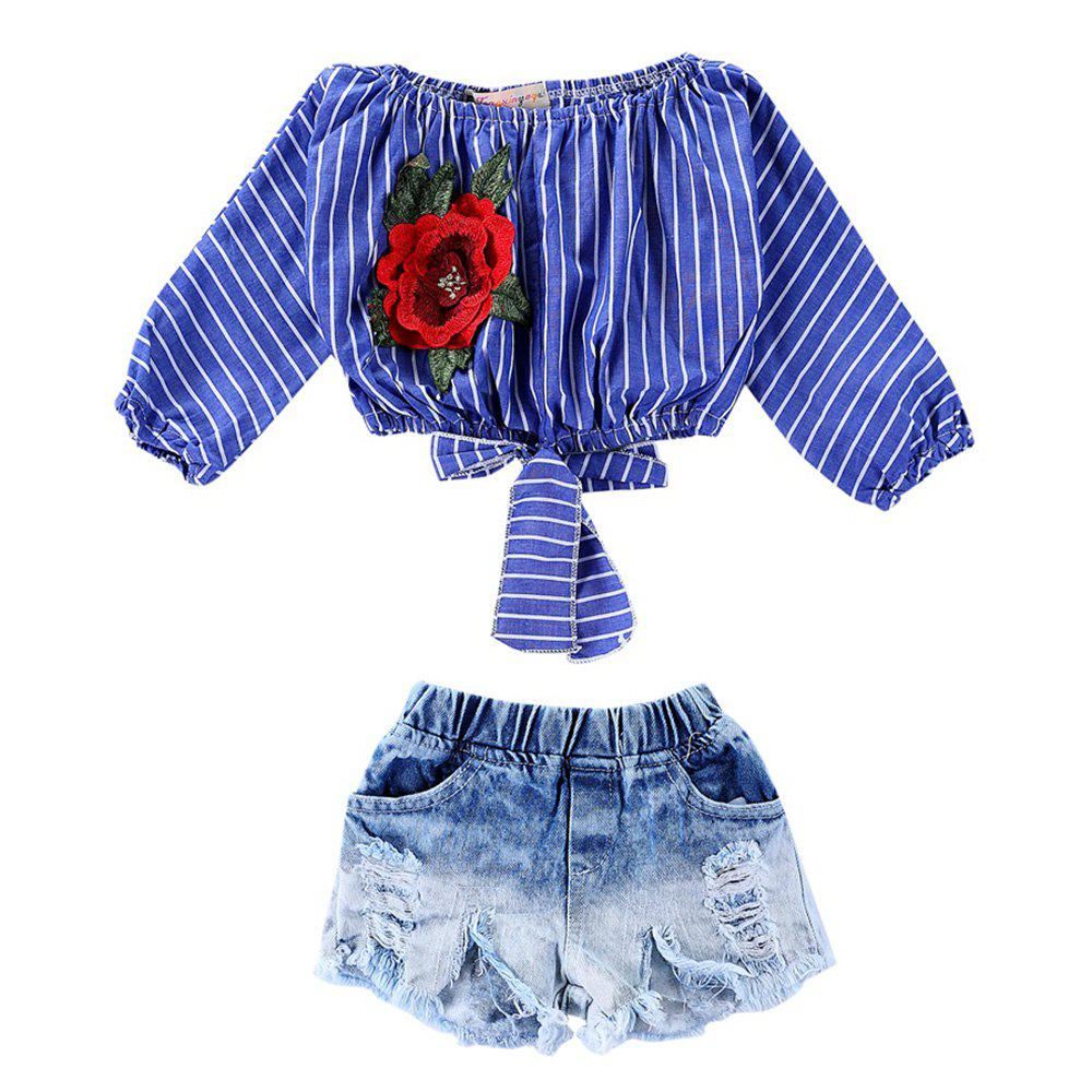 Hot 1099 Girls Rose Embroidered Top Cotton Denim Shorts Suit