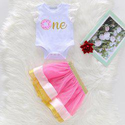 1255 Girls Knit Cartoon Donut Print Mesh Skirt Suit -