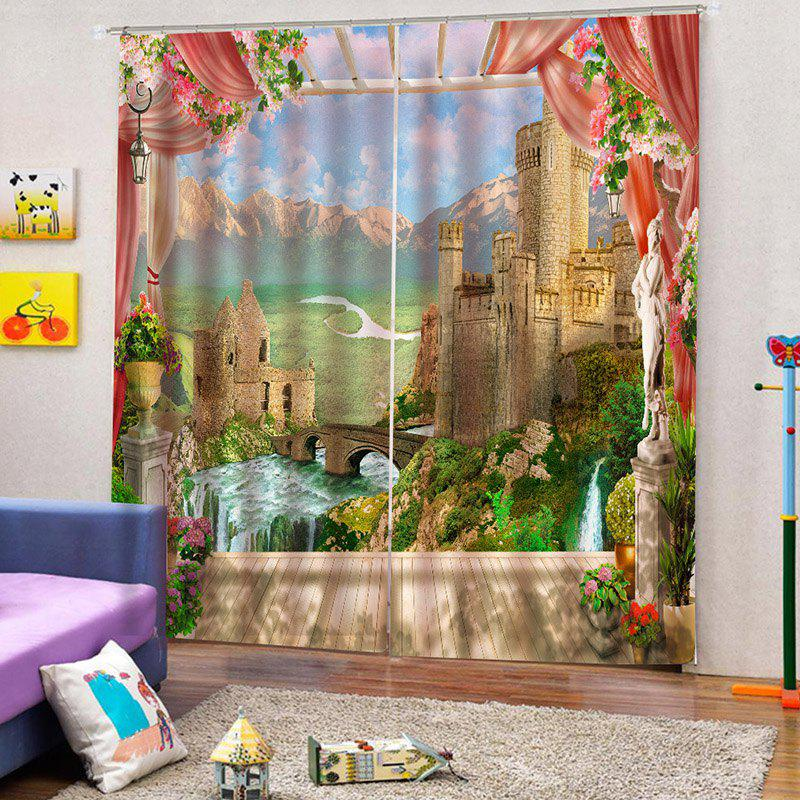 Online Home Decoration 3D Window Sill Landscape Curtain