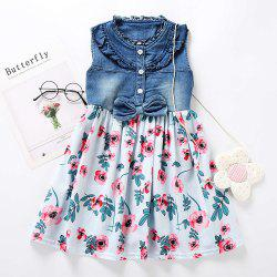 M0368 Girls Fashion Denim Stitching Dress -