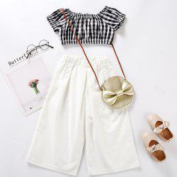 M0374 Girls Short Sleeve High Waist Pants Set -