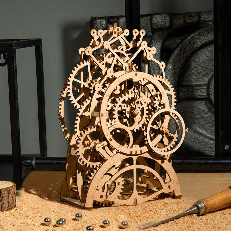 Robotime LK501 DIY Gear Drive Pendulum Clock 3D Wooden Model Building Kits  Toys Hobbies Gift for Children Adult