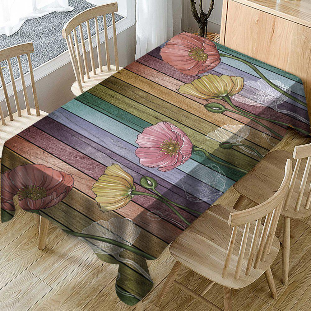 Buy Vintage Color Wooden Board Flower Printed Polyester Waterproof Tablecloth