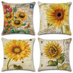 Sunflower Series Hand Painted Pillowcase Cushion Cover 4pcs -