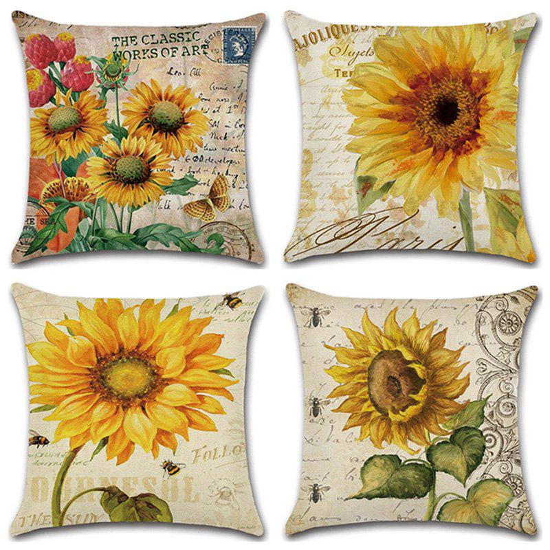 Outfits Sunflower Series Hand Painted Pillowcase Cushion Cover 4pcs