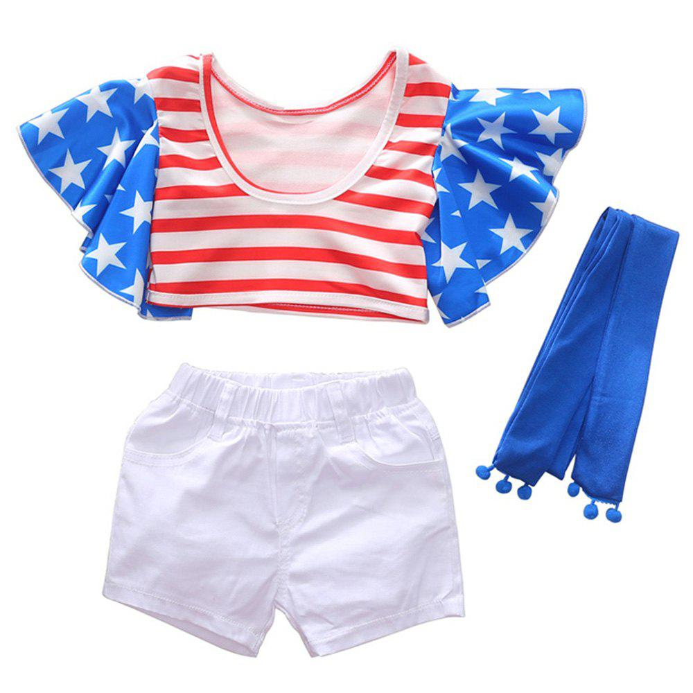 Store 1290 Girls Polyester Star Stripe Flying Sleeve Top + Shorts + Belt Set