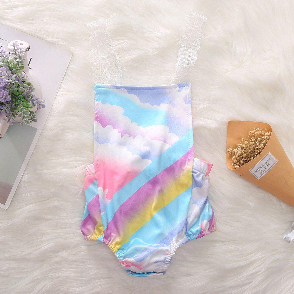 Outfit 1298 Girls Polyester Rainbow Cloud Print Romper
