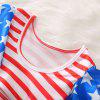 1290 Girls Polyester Star Stripe Flying Sleeve Top + Shorts + Belt Set -