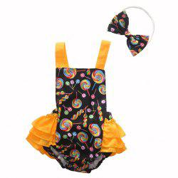1293 Cotton Lollipop Print Romper + Bow Headwear Set -