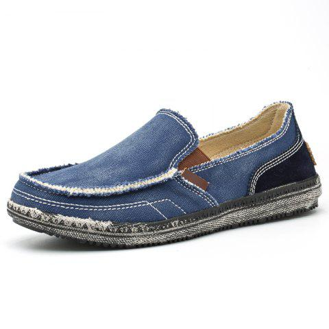 Men's Solid Color Canvas Slip-on Casual Shoes Durable - DEEP BLUE - EU 43