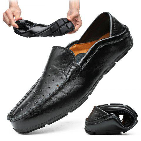 Men's Large Size Breathable Hollow Out Slip-on Shoes Soft - BLACK - EU 42