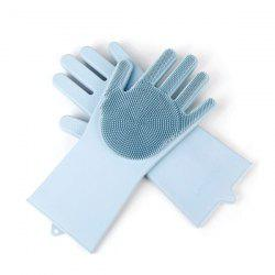 Silicone Dishwashing Gloves Brush Slip Resistant Household Kitchen Glove Cleaning Tools -
