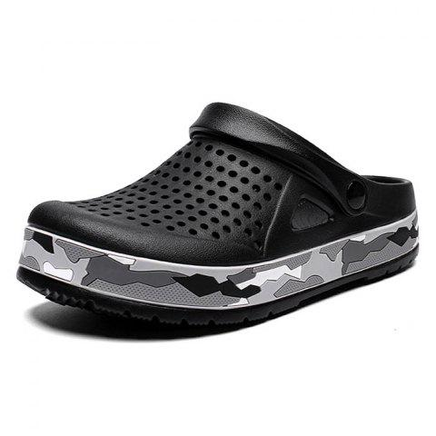 AIALDUN Men's Fashion Personality Camouflage  Nest Tunnel Beach Shoes - BLACK - EU 43