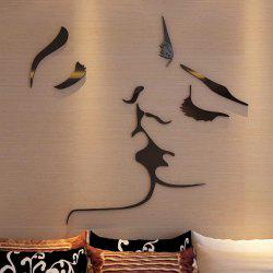 3D Acrylic Wall Sticker Couple Kissing Pattern Bedroom Bedside Home Decorative Stickers -