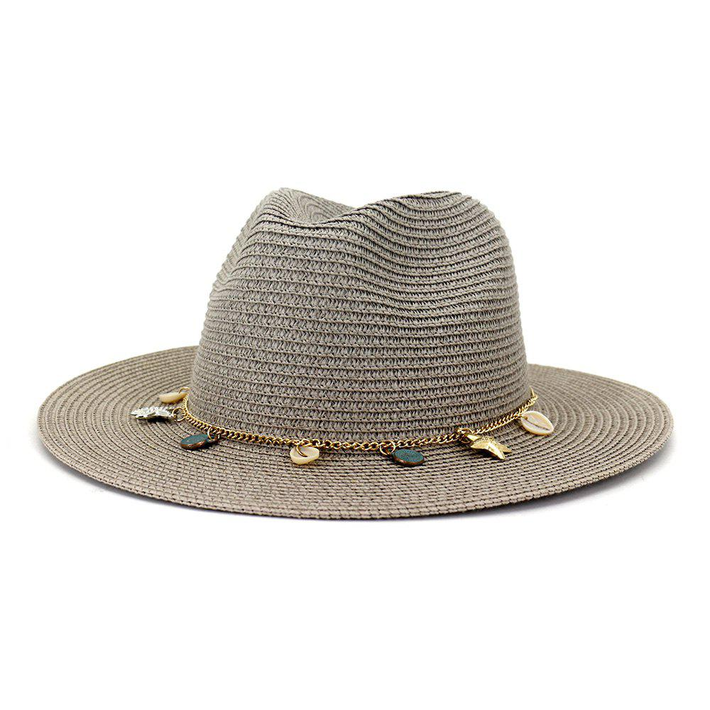 Shop Women Outdoor Seaside Sunscreen Beach Headgear Shade Straw Sun Hat Spring Summer British Style Jazz Cap
