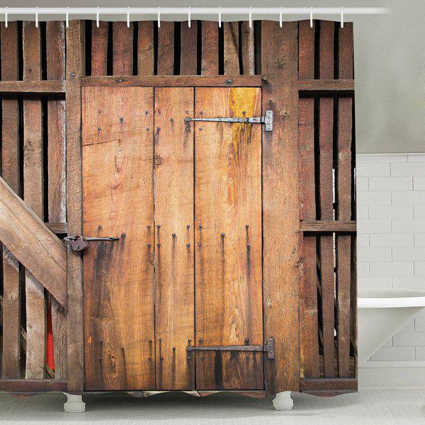 Store Retro Wood Door Print Water Repellent Shower Curtain