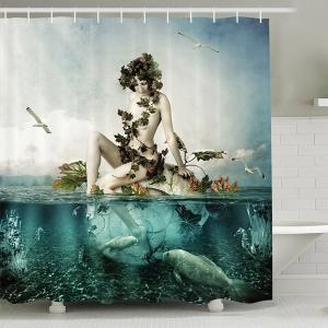Mermaid Shape Print Waterproof Mouldproof Shower Curtain - Lake Blue - 180cm*180cm