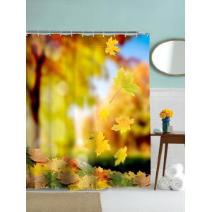 Maple Leaves Print Waterproof Mouldproof Shower Curtain - Golden Yellow - 180cm*180cm