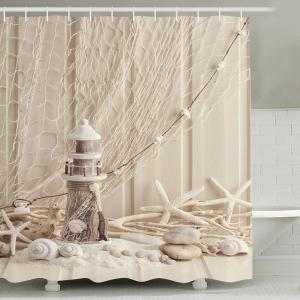 Beach Print Waterproof Mouldproof Shower Curtain - Apricot - 150cm*180cm