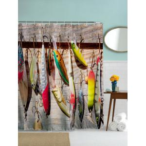 Water Repellent Fish Bait Print Bathroom Curtain - Colormix - 180cm*180cm