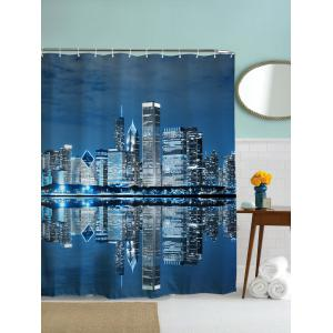Night of City Print Mildew Resistant Fabric Shower Curtain