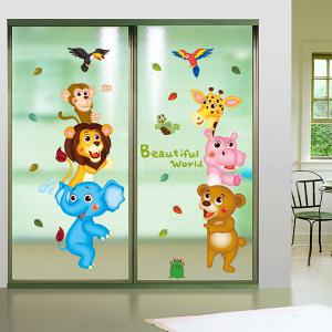 Cartoon Animal World Children Room Wall Sticker - Colormix - 21*29cm
