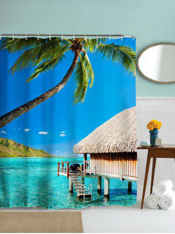 Cheap Beach Hut Landscape Polyester Fabric Bath Shower Curtain - 180CM*180CM BLUE LIGHT Mobile