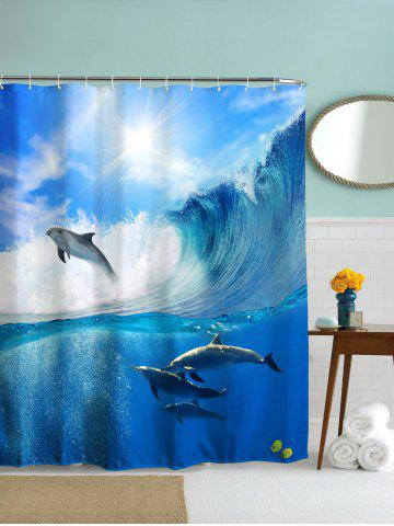 Sea Dolphin Print Waterproof Polyester Shower Curtain - Blue Light - 150cm*180cm